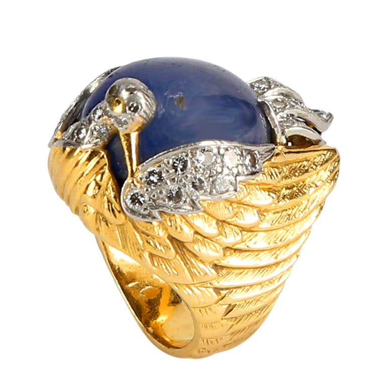 unique sapphire gold dress ring at 1stdibs