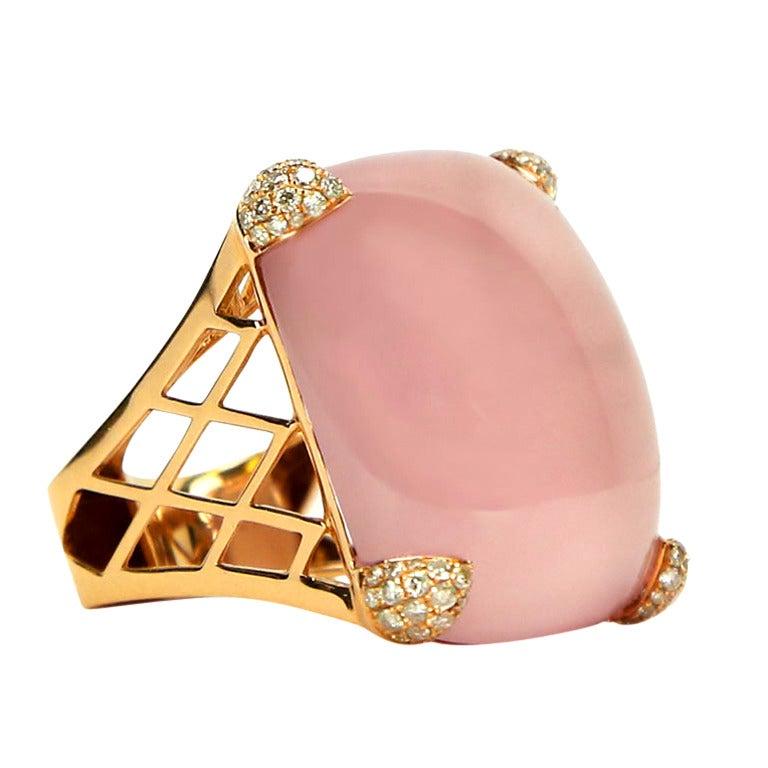 65 Carat Rose Quartz Diamond Gold Statement Dress Ring