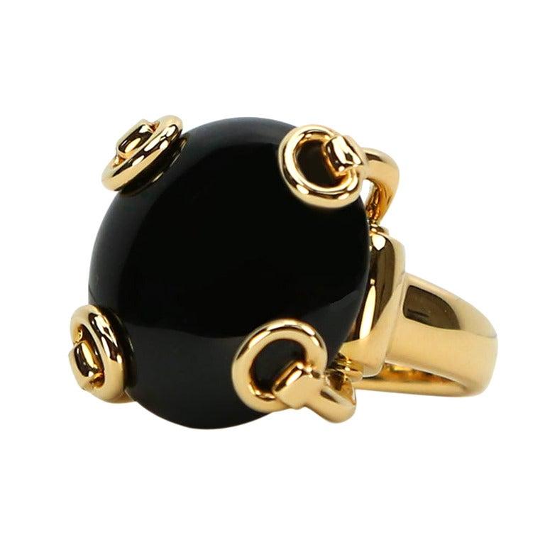 Art Nouveau Gold Stirrup Ring