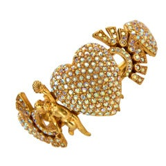 Cherub Nymphs and Hearts Signed Askew London Clamper Cuff Bracelet