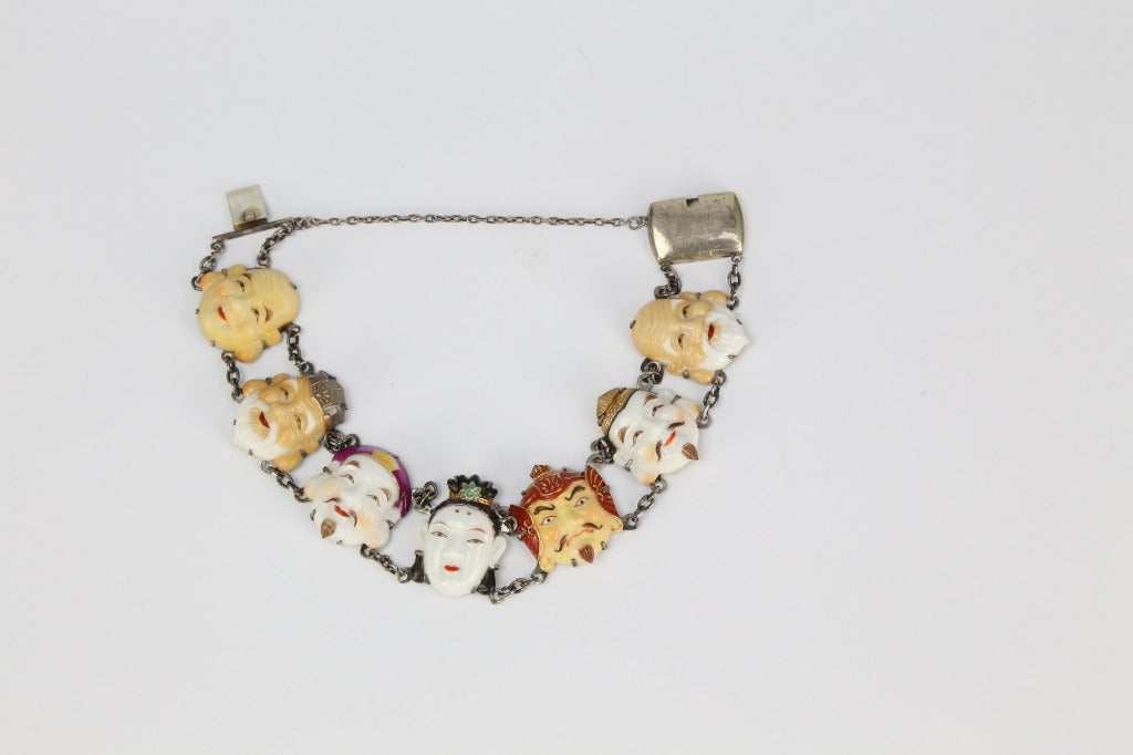 Toshikane antique Japanese Emperors Ceramic Face Bracelet. Seven Ceramic panels with exquisite detailed busts of the emperors. Set in Sterling Silver. Bracelet measures approx. 7 inches in length. Extremely rare and collectable, in very fine vintage