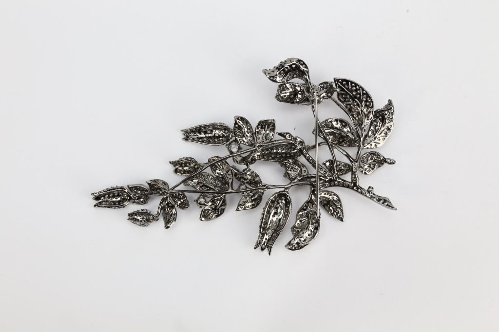 Sensational Tremblant Lily of the Valley Flower Crystal Silver Brooch Pin 2