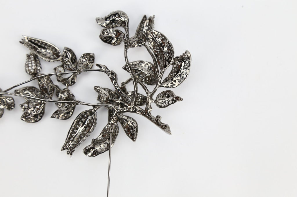 Sensational Tremblant Lily of the Valley Flower Crystal Silver Brooch Pin 3