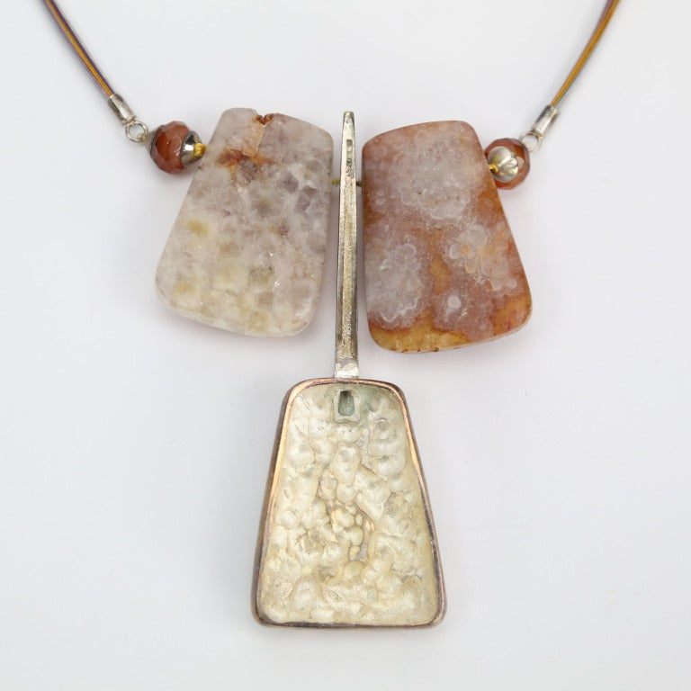 Contemporary Natural Citrine Quartz Sterling Silver Runway Necklace For Sale