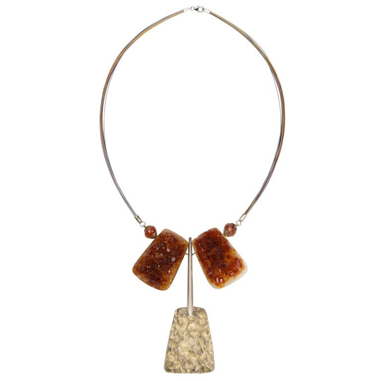 Natural Citrine Quartz Sterling Silver Runway Necklace For Sale