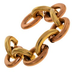 Retro Tubular Link Two-Tone Gold Link Bracelet