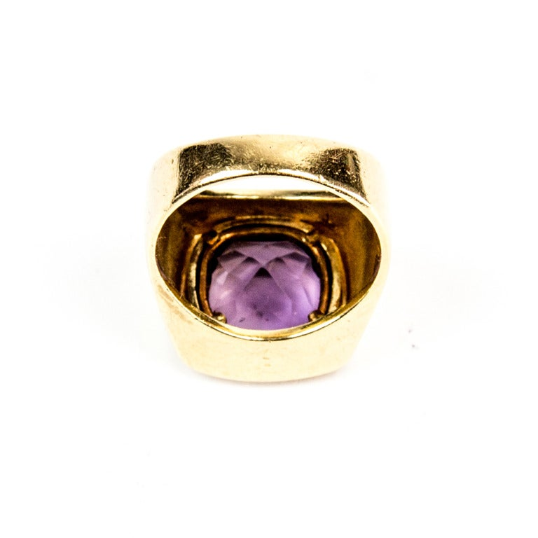 Awesome Cushion Cut Amethyst Gold Statement Ring In New Condition For Sale In Montreal, QC