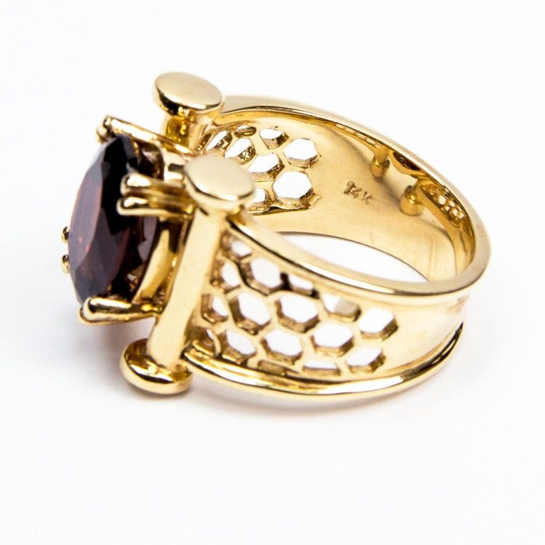coach house chic garnet gold lattice beehive ring for sale