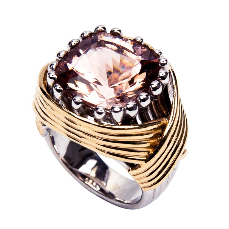 Coach House 10 65 Carat Solitaire Cushion Pink Morganite Gold Ring For Sale a
