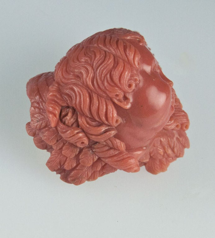Victorian Hand-Carved Angelic Cherub Coral Brooch Pendant 2