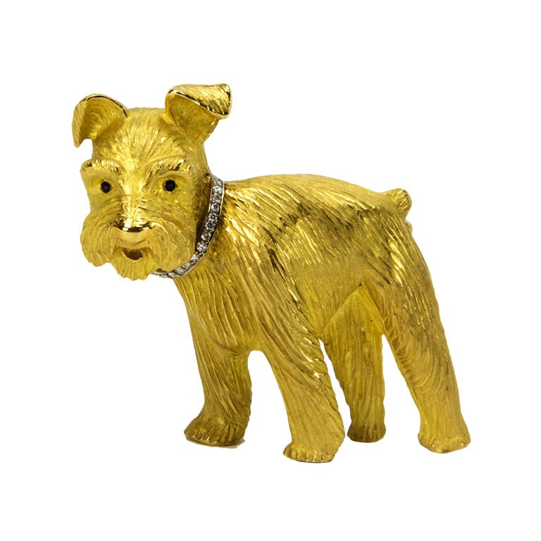 Adorable Schnauzer Dog Diamond Gold Brooch Pin At 1stdibs