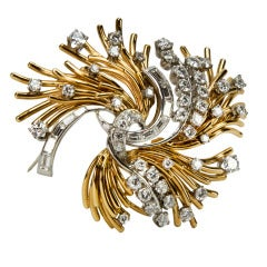 Modernist Diamond Gold Floral Sprig Brooch Pin Circa 1950s