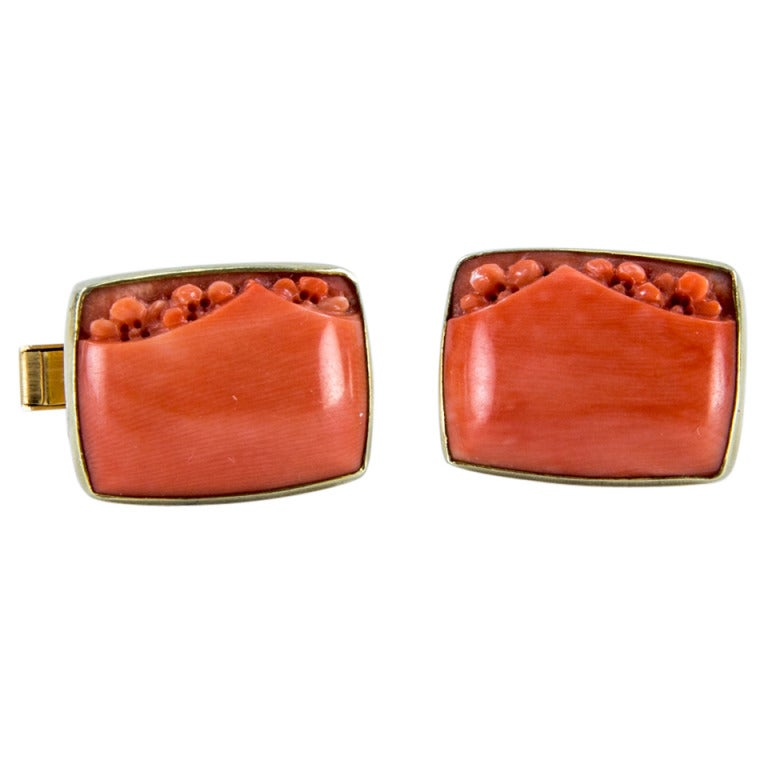 Mid Century Modern Outstanding Mad Men Coral Gold Cufflinks