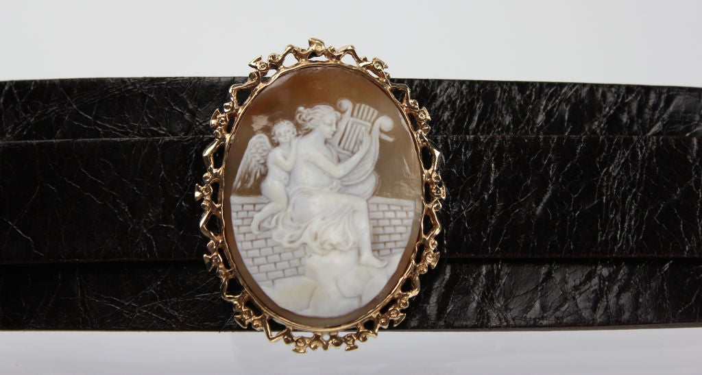 Victorian Shell Cameo Leather Cuff Bracelet/Pendant image 3