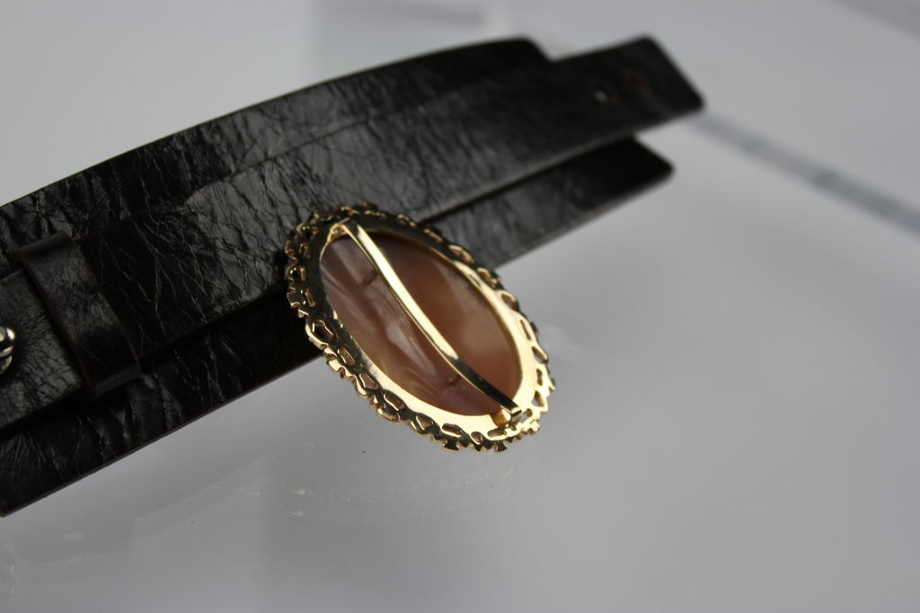 Victorian Shell Cameo Leather Cuff Bracelet/Pendant image 4