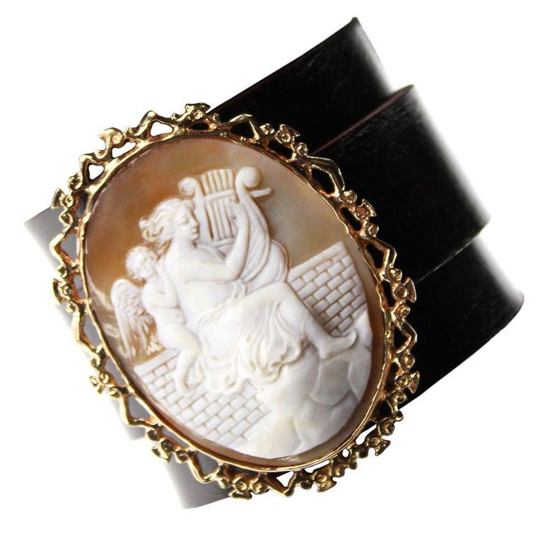 Victorian Shell Cameo Leather Cuff Bracelet/Pendant 1