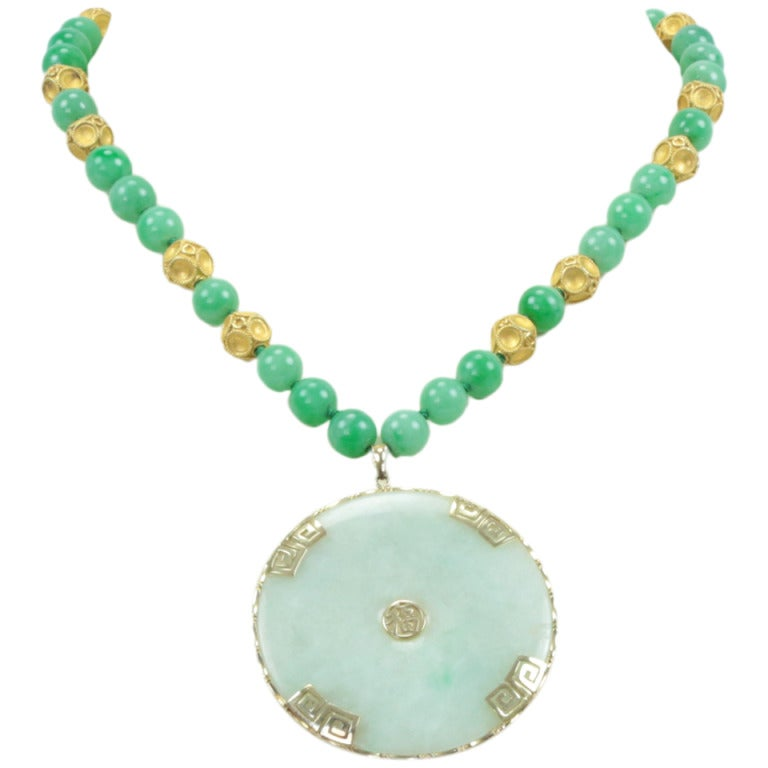 Outstanding Jade Gold Pendant Necklace 1