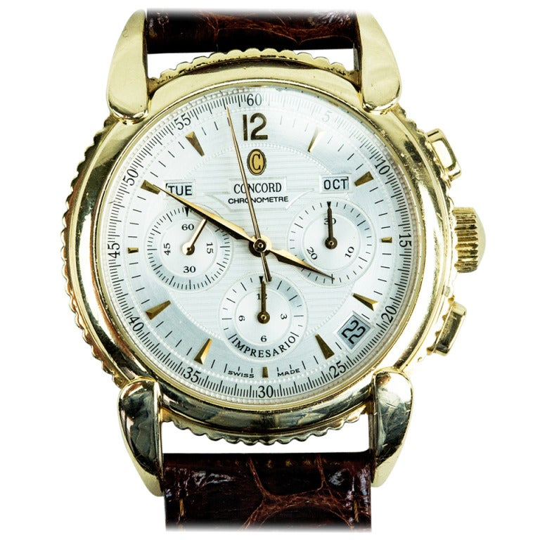 Concord Yellow Gold Impresario Triple-Calendar Date Chronograph Wristwatch For Sale