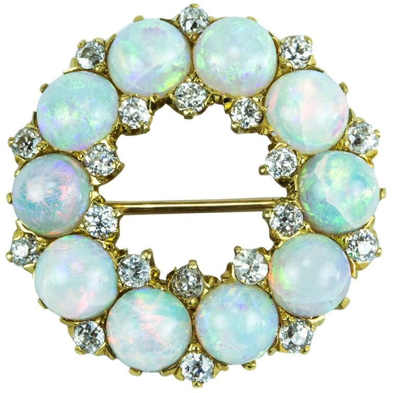 Antique Edwardian Opal Diamond Gold Circle Brooch Pin 1