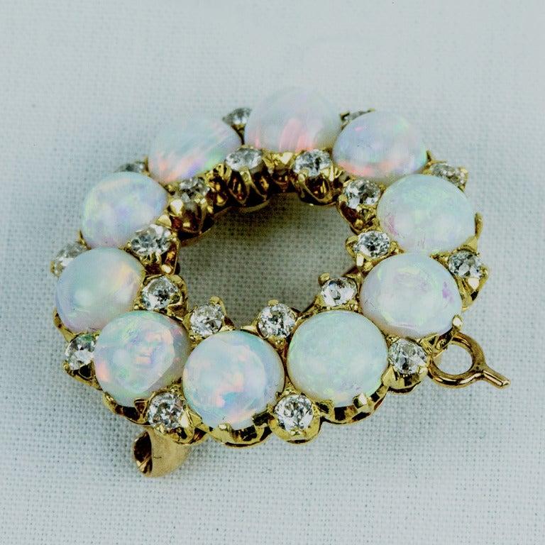 Antique Edwardian Opal Diamond Gold Circle Brooch Pin 2