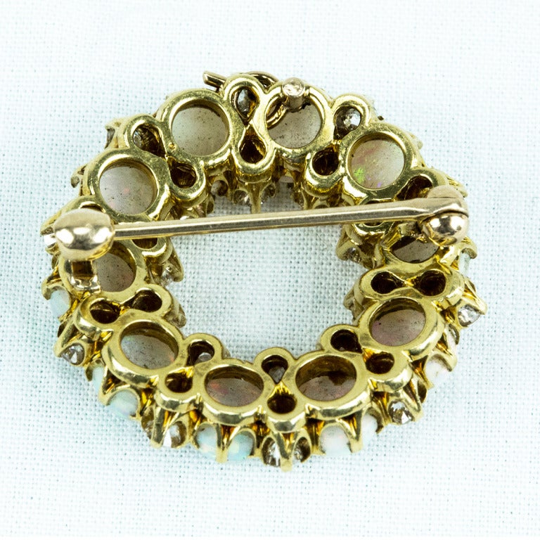 Antique Edwardian Opal Diamond Gold Circle Brooch Pin 3