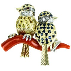 Sapphire Diamond Gold Birds Perched on a Coral Branch Pin