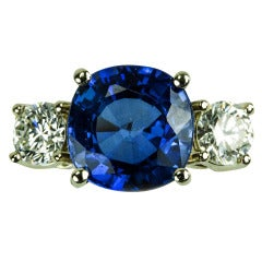 Sapphire Diamond Gold Three Stone Trinity Ring