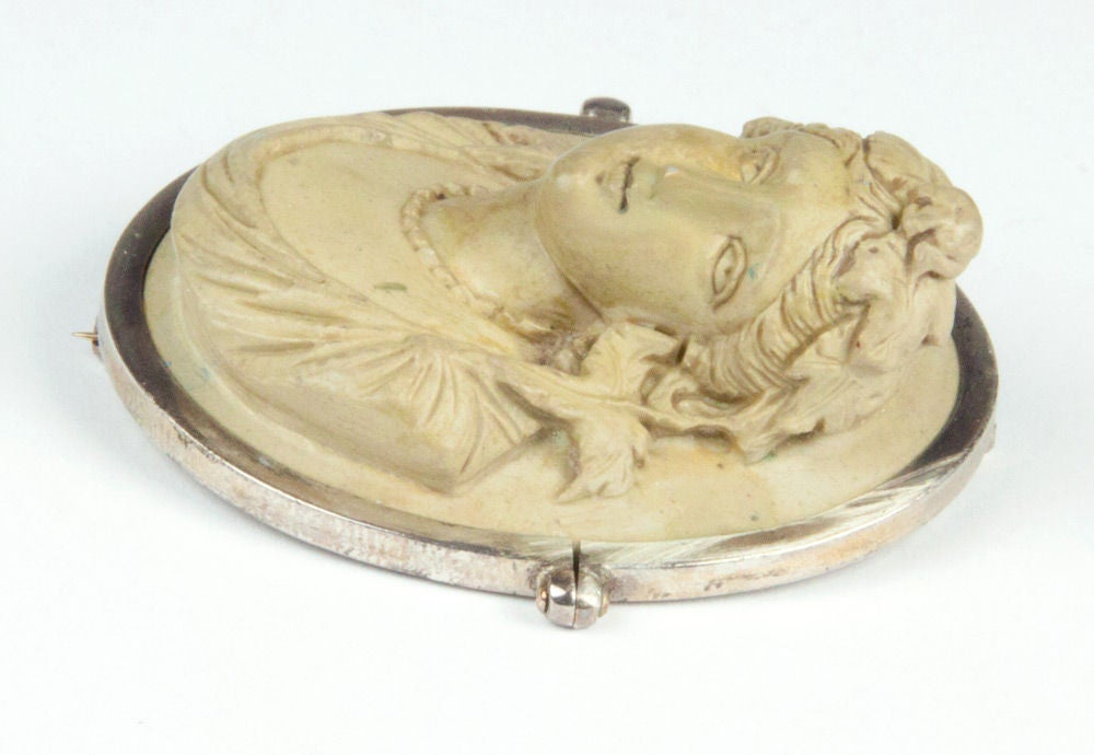 Victorian Lava Cameo Hand Carved in High Relief Brooch Pin 2