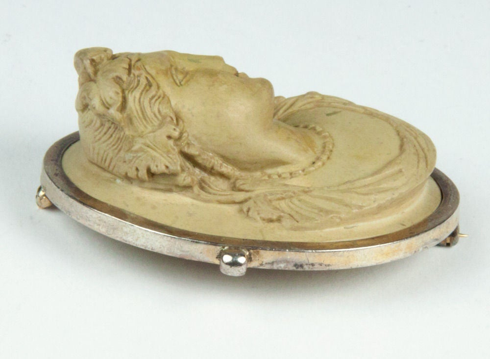 Victorian Lava Cameo Hand Carved in High Relief Brooch Pin 3