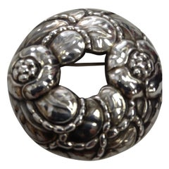 Georg Jensen Floral Wreath Sterling Silver Brooch Pin