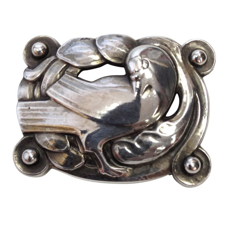 georg jensen bird and fern pin sterling silver brooch pin 204 at 1stdibs. Black Bedroom Furniture Sets. Home Design Ideas