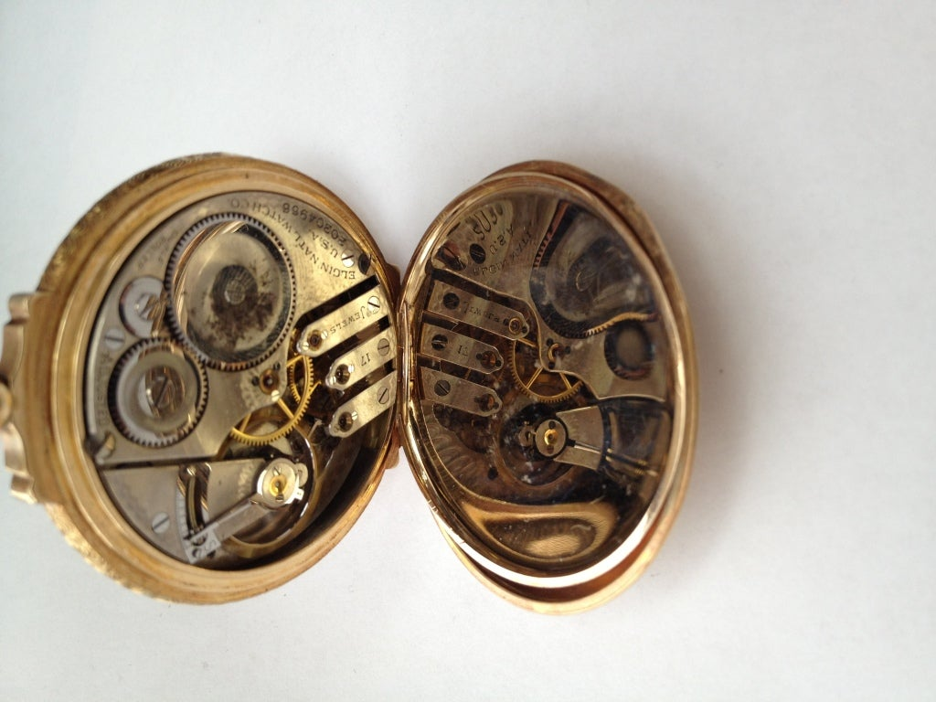 Edwardian Elgin Multicolor Gold Diamond Hunter Case Pocket Watch For Sale