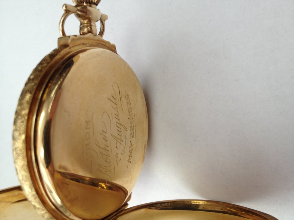 Elgin Multicolor Gold Diamond Hunter Case Pocket Watch For Sale 1