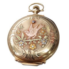 Elgin multi Gold Diamond Hunter Case Pocket Watch