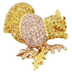 Natural Pink and Yellow Diamond Gold Squirrel Brooch Pin Fine Estate Jewelry