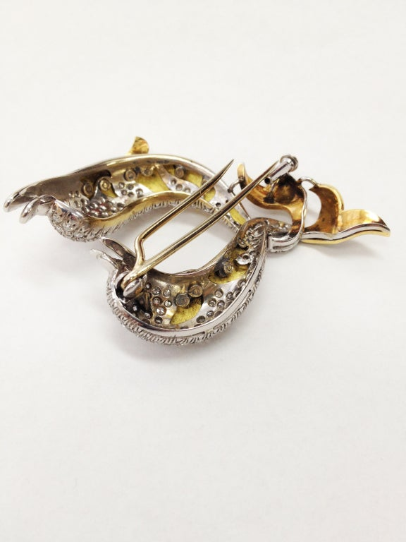 Diamond Enamel Gold Dolphin Statement Pin Brooch For Sale 1