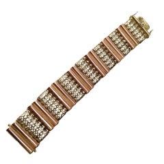 Wide Two-tone Retro Gold Bracelet