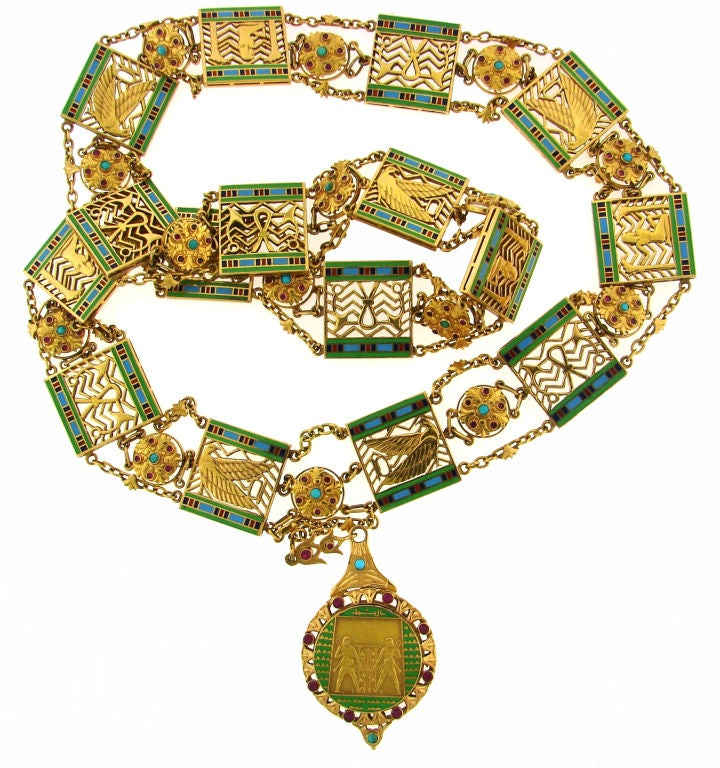 Art Deco Egyptian Revival Ruby,Turquoise, Enamel & Gold Necklace 2
