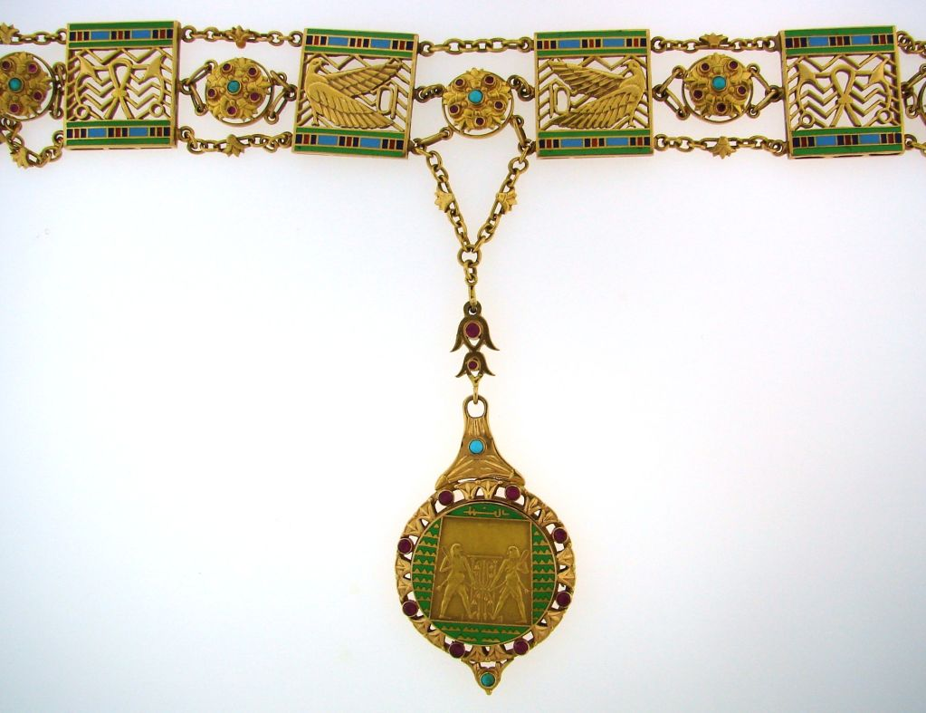 Art Deco Egyptian Revival Ruby,Turquoise, Enamel & Gold Necklace 3