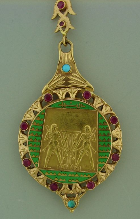 Art Deco Egyptian Revival Ruby,Turquoise, Enamel & Gold Necklace 4