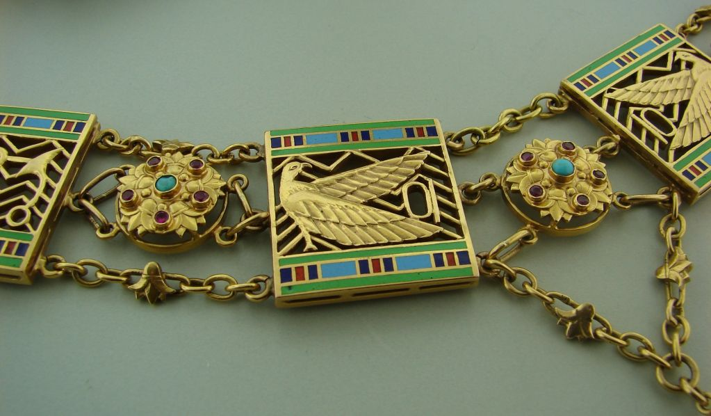 Art Deco Egyptian Revival Ruby,Turquoise, Enamel & Gold Necklace 6