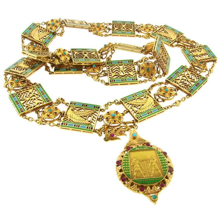 Art Deco Egyptian Revival Ruby,Turquoise, Enamel & Gold Necklace 1