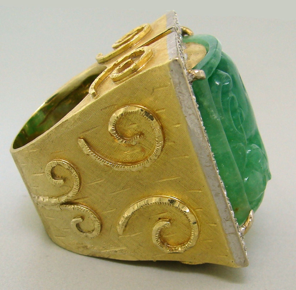 carved jade and gold ring at 1stdibs