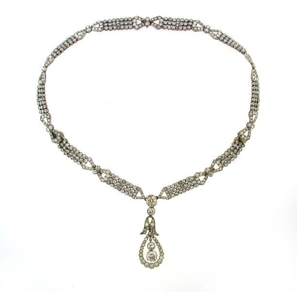 Art Deco Diamond & Platinum Necklace/Choker/Bracelets & Earrings In Excellent Condition For Sale In Beverly Hills, CA