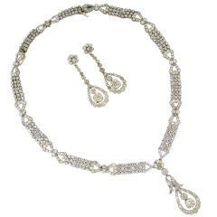 Art Deco Diamond & Platinum Necklace/Choker/Bracelets & Earrings