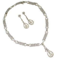 Art Deco Diamond Platinum Necklace Earrings Bracelets Choker Interchangeable