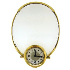 Vintage Cartier Gold Desk Clock with Magnifying Glass