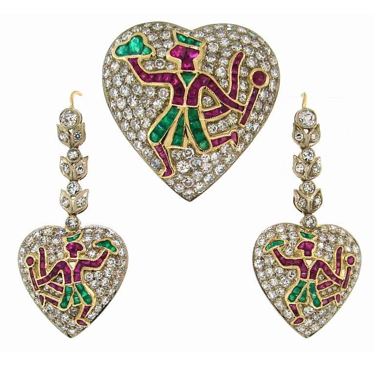 c.1930's Indian Epic Motif Diamond Gems Platinum Gold Earrings and Pin Set
