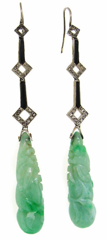Art Deco Carved Jade, Diamond, Onyx & Platinum Earrings 2