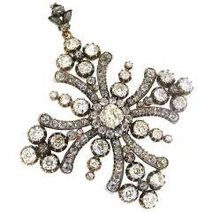Georgian Diamond, Silver & Rose Gold Maltese Cross Pin/Pendant